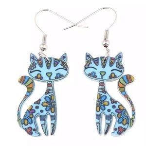 Light Blue Kitten Acrylic Ear Drop Earrings
